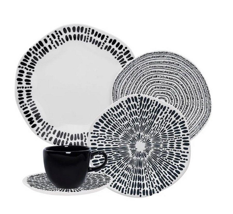 Aparelho De Jantar/Chá 42 Peças Ryo Ink - Oxford Porcelanas