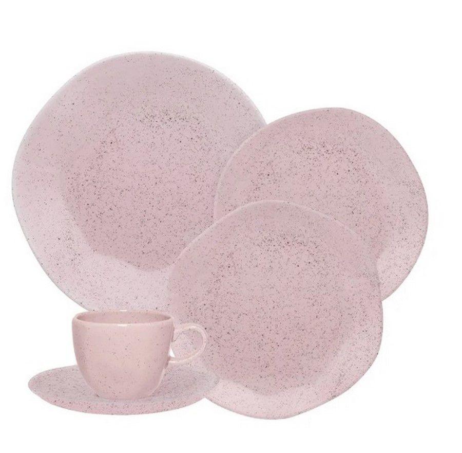 Aparelho De Jantar/Chá 42 Peças Ryo Pink Sand - Oxford Porcelanas