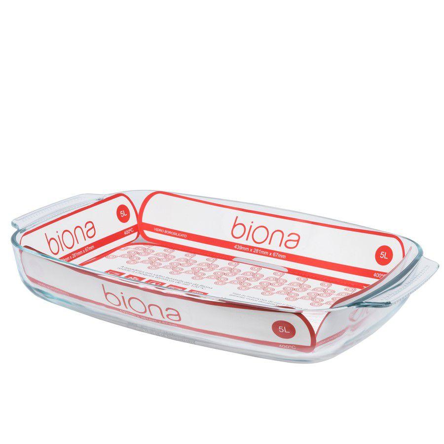 Assadeira Funda De Vidro Borosilicato Retangular C/ Alça 5L - Transparente - Oxford Biona