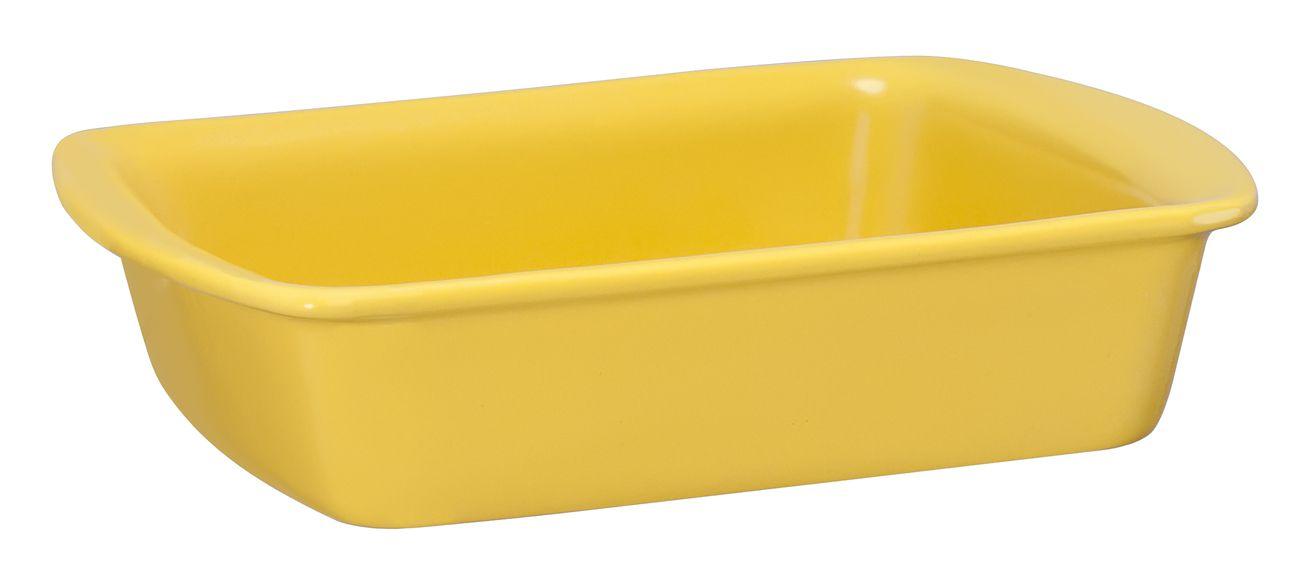 Assadeira Retangular De Cerâmica Mondoceram 23 X 18Cm 1000Ml -  Amarelo