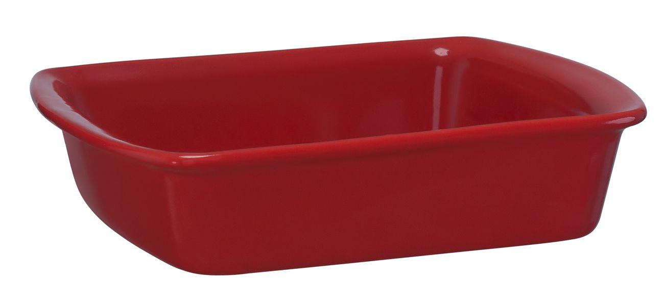 Assadeira Retangular De Cerâmica Mondoceram 23 X 18Cm 1000Ml  -  Vermelho