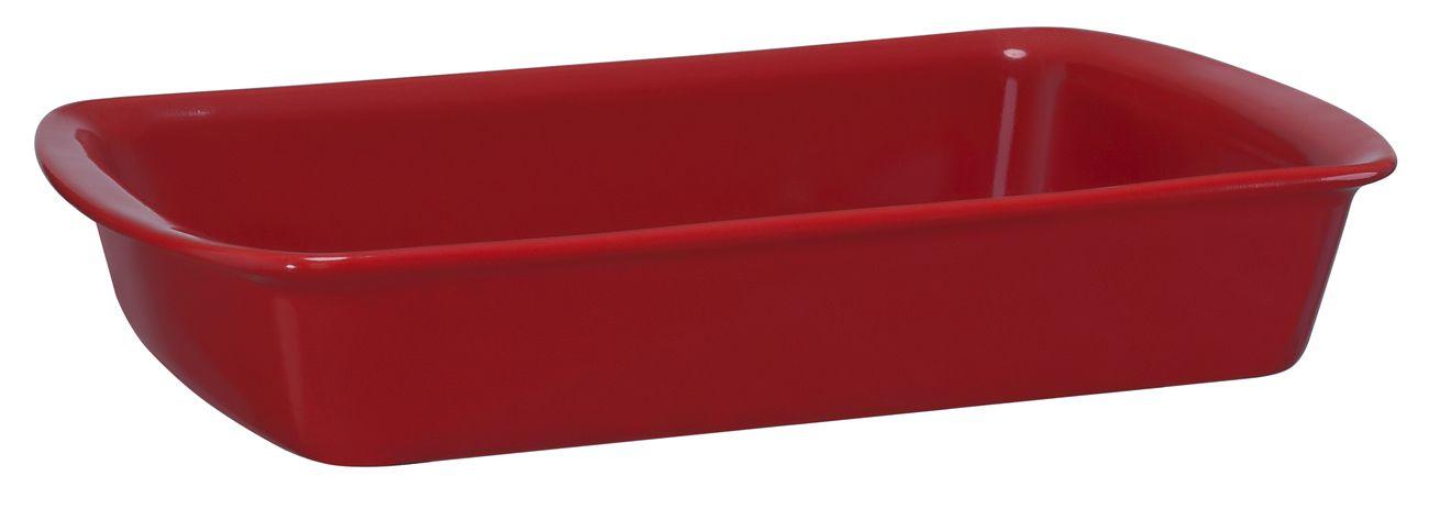Assadeira Retangular De Cerâmica Mondoceram 30 X 19Cm 1700Ml  -  Vermelho
