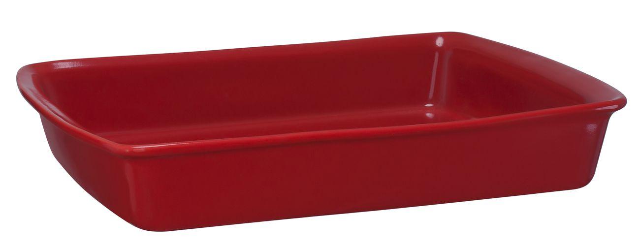Assadeira Retangular De Cerâmica Mondoceram 33 X 25Cm 2500Ml -  Vermelho