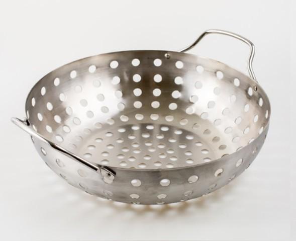 Assadeira Wok Para Grelhar Na Churrasqueira Aço Inox 28 Cm - Prana