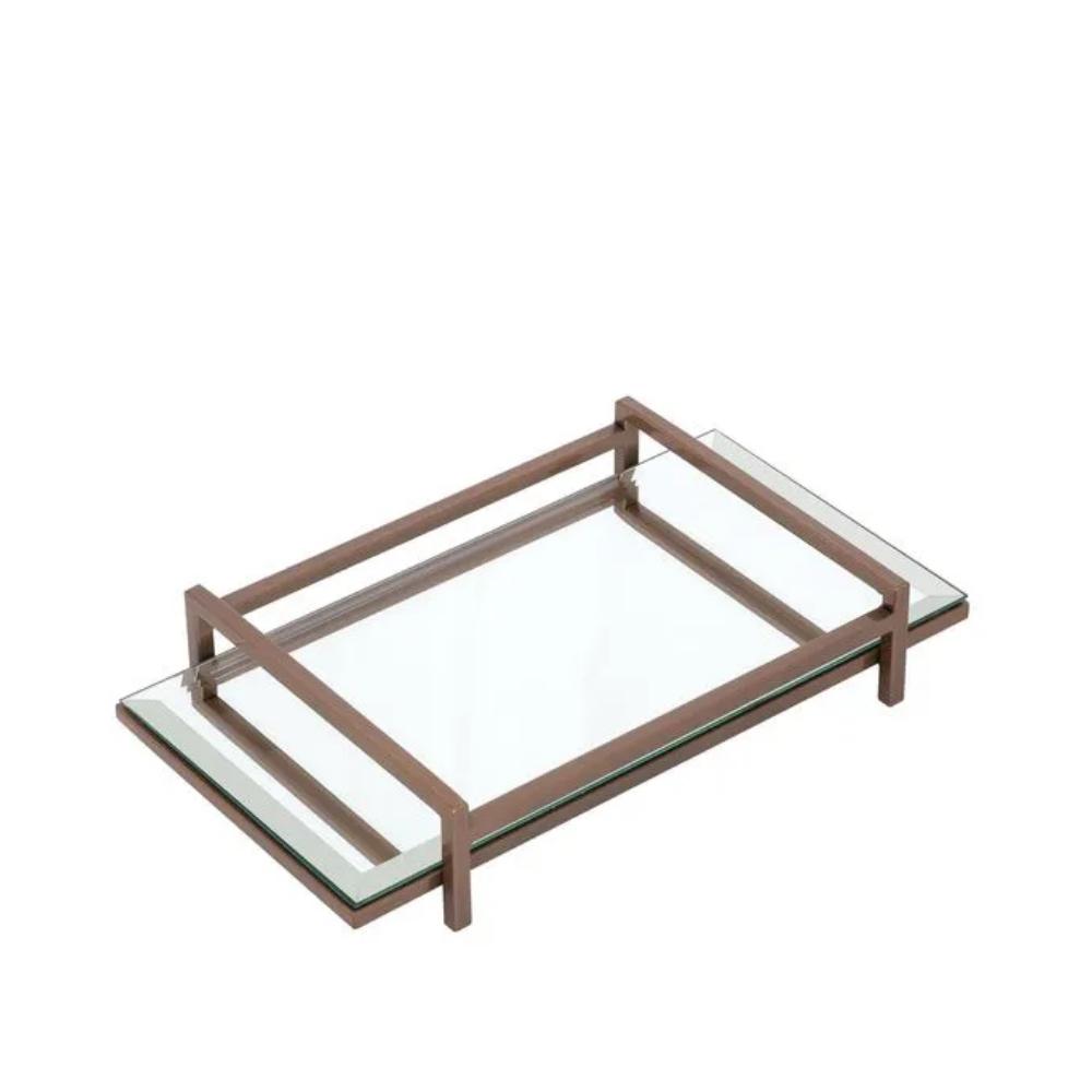 Bandeja Decorativa De Metal E Espelho Pequena - 30x15x5,5 Cm - Mels Brushes