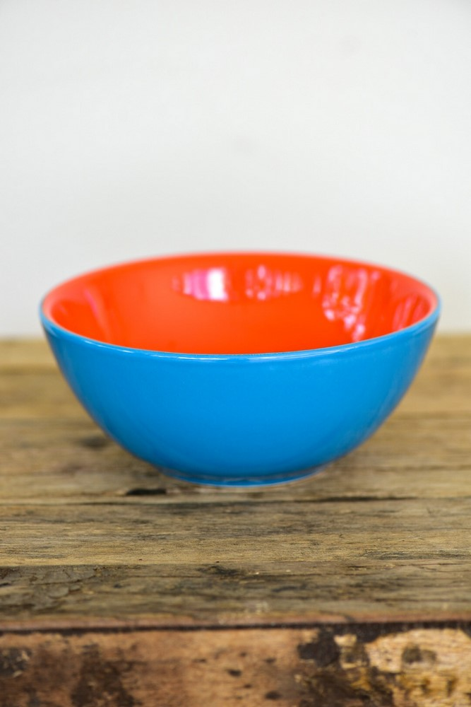 Bowl De Cerâmica 16Cm 600Ml - Bicolor - Azul/Laranja - Oxford Daily