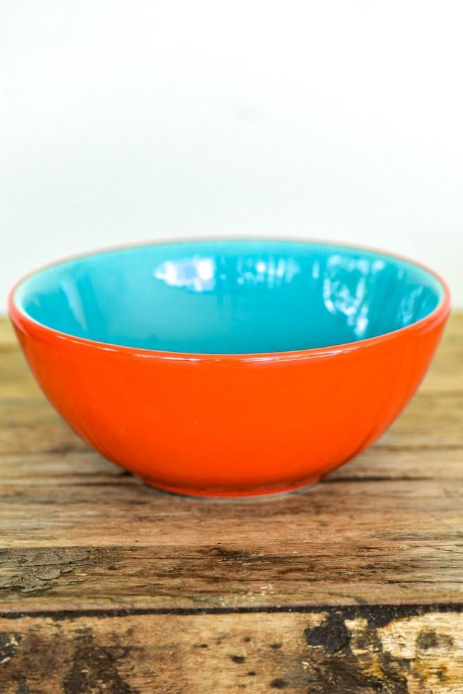 Bowl De Cerâmica 16Cm 600Ml - Bicolor - Laranja/Verde - Oxford Daily