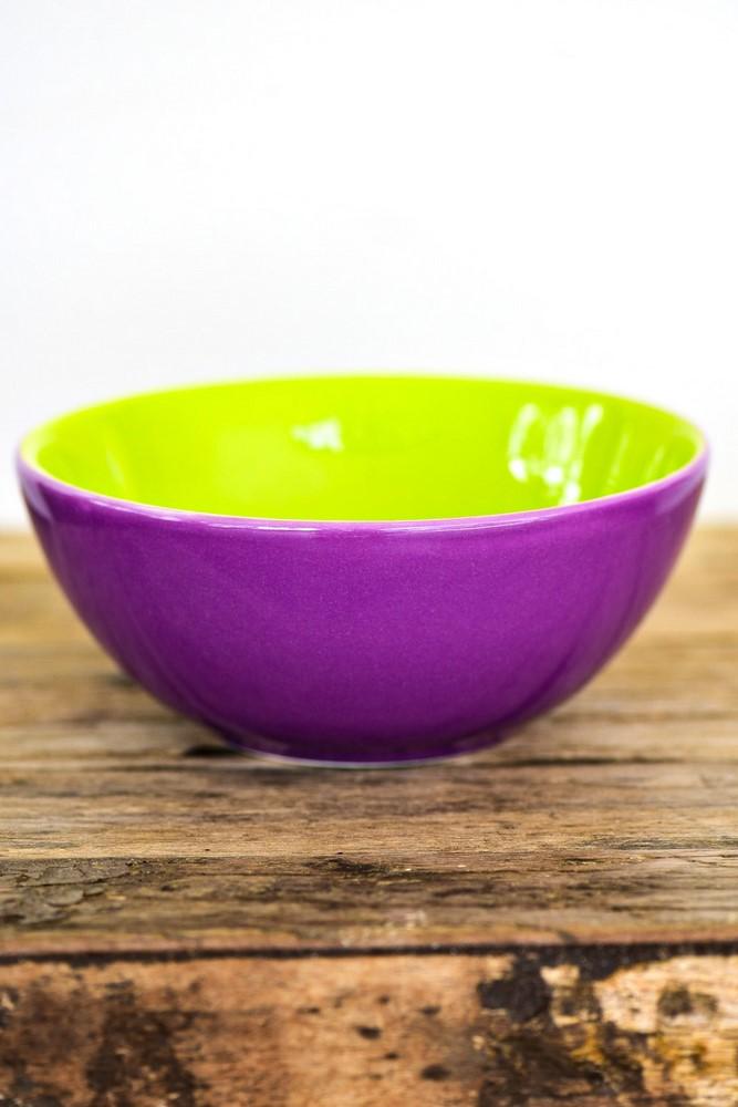 Bowl De Cerâmica 16Cm 600Ml - Bicolor - Violeta/Verde - Oxford Daily