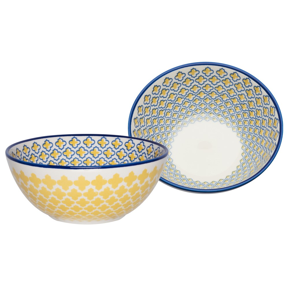 Bowl De Cerâmica 16Cm 600Ml - Mosaico Amarelo - Oxford Daily