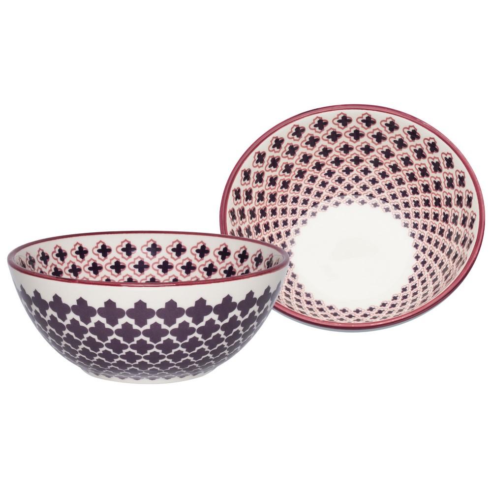 Bowl De Cerâmica 16Cm 600Ml - Mosaico Roxo - Oxford Daily