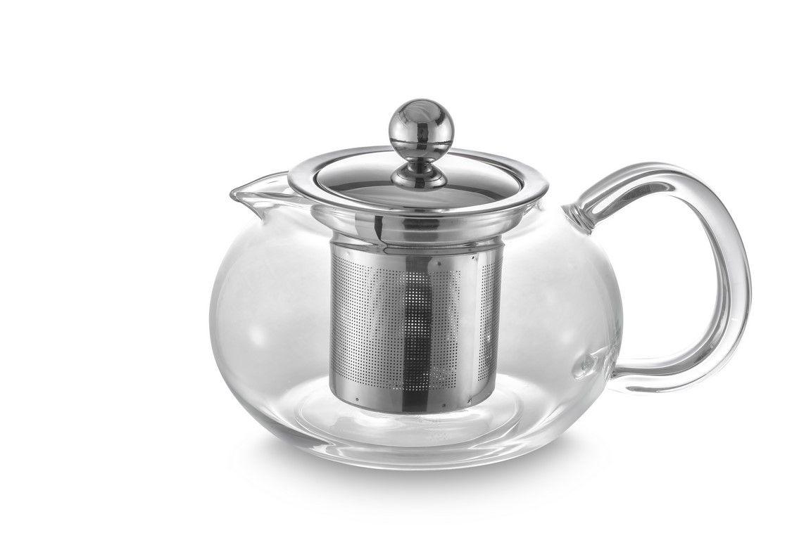 Bule Para Chá Em Vidro E Aço Inox Com Infusor - 500Ml - Oxford