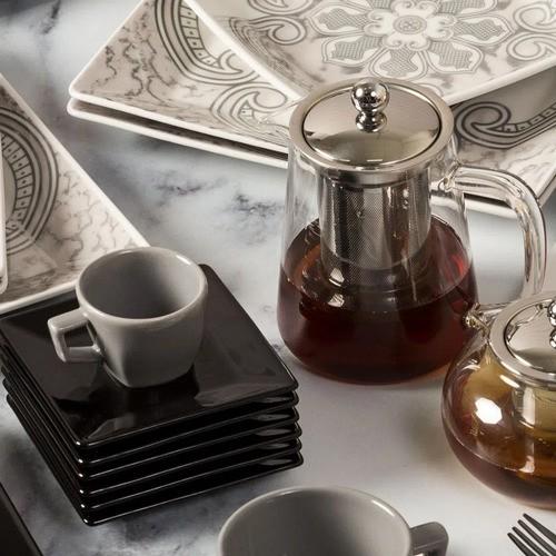Bule Para Chá Em Vidro E Aço Inox Com Infusor - 500Ml - Oxford Porcelanas
