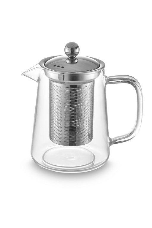 Bule Para Chá Em Vidro E Aço Inox Com Infusor - 800Ml - Oxford