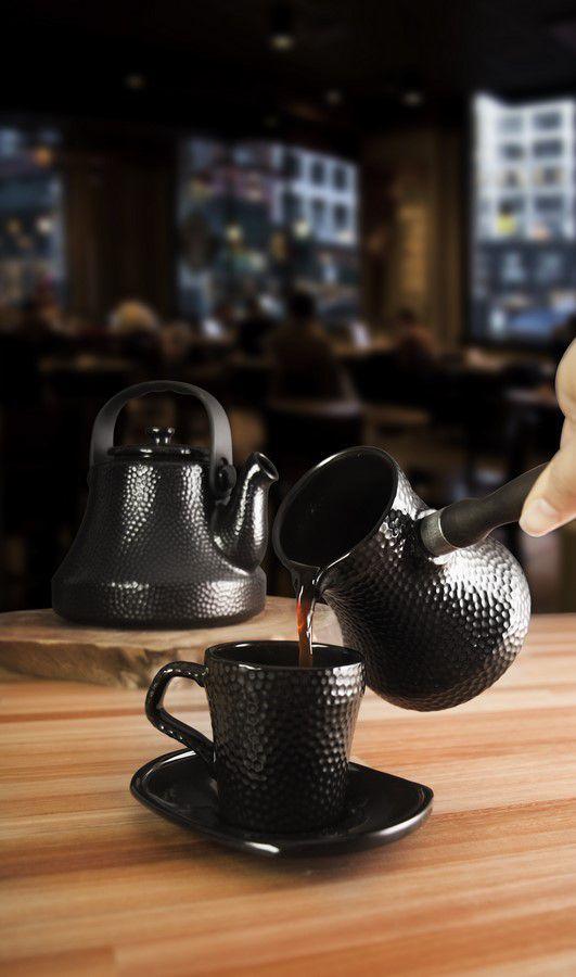 Café Turco De Cerâmica Ceraflame (Ibrik) Martelado 6500Ml Preto