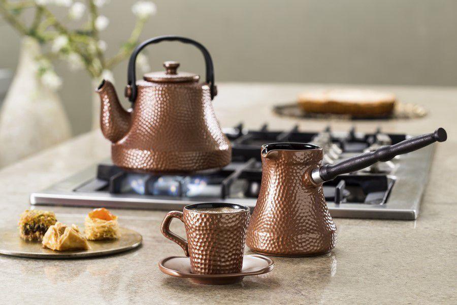 Café Turco (Ibrik) De Cerâmica Ceraflame Martelado 240Ml Cobre