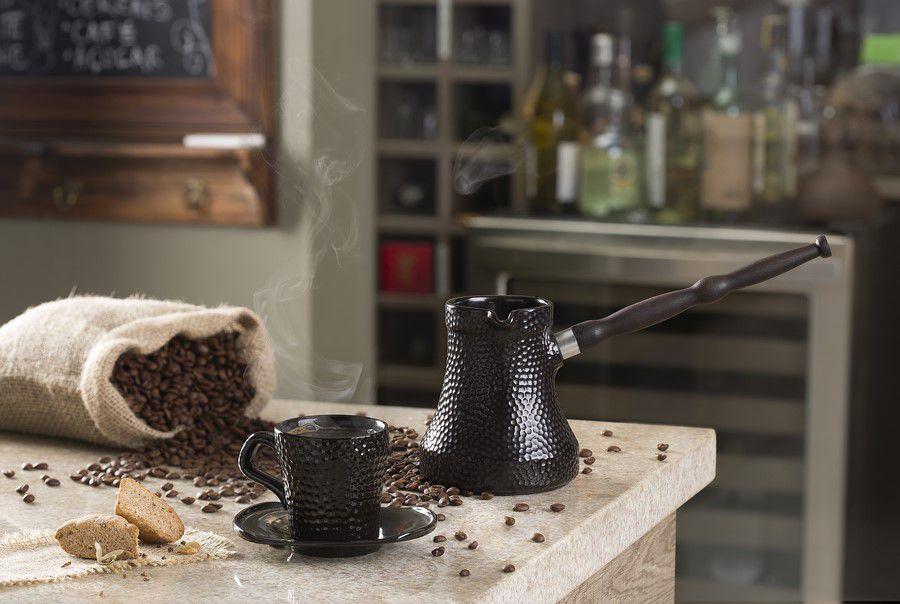 Café Turco (Ibrik) De Cerâmica Ceraflame Martelado 350Ml Preto