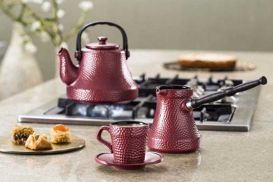 Café Turco (Ibrik) De Cerâmica Ceraflame Martelado 350Ml Rose Gold