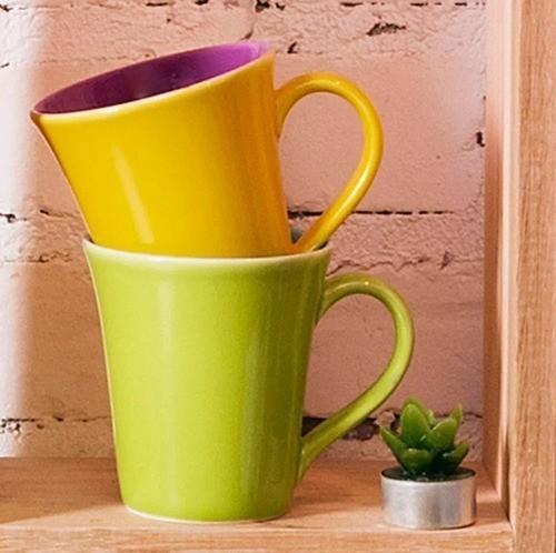 Caneca Bicolor 330Ml - Tulipa - Amarelo/Violeta - Oxford Porcelanas