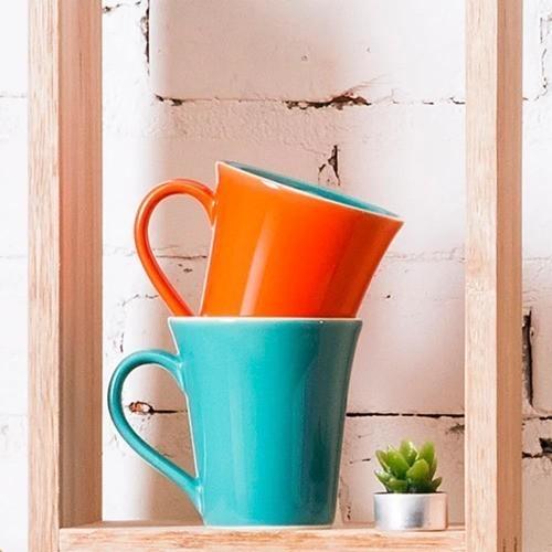 Caneca Bicolor 330Ml - Tulipa - Laranja/Verde - Oxford Porcelanas