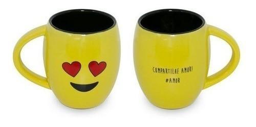 """Caneca Concava 300Ml Amarela/Preta """"Amor"""" Linha Diverticon"""