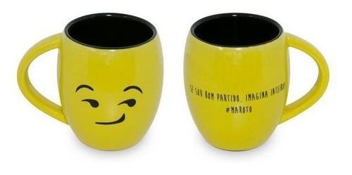 Caneca Concava 300Ml Amarela/Preta