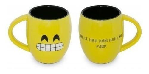 "Caneca Concava 300Ml Amarela/Preta ""Sorria"" Linha Diverticon"