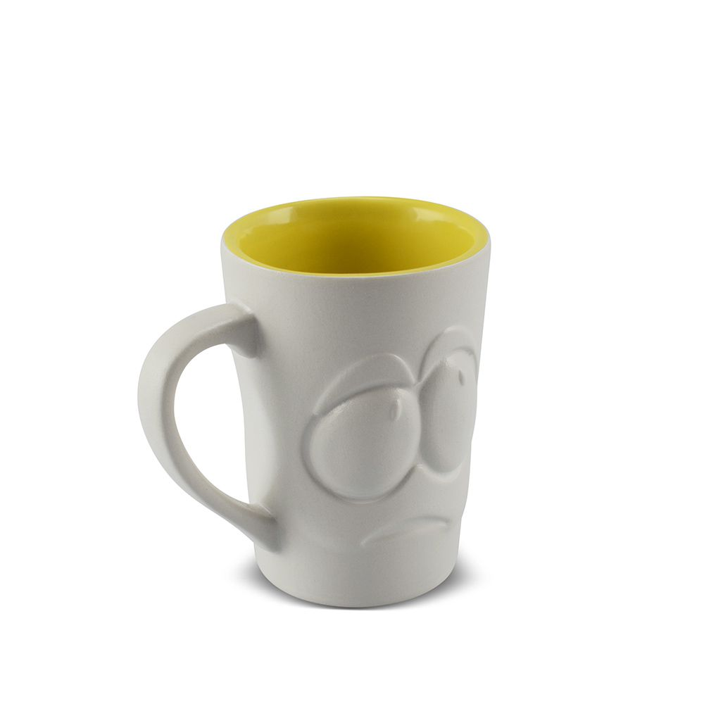 Caneca De Cerâmica 150 Ml Branco Fosco/Amarelo Pirulito ''Tolerância Zé
