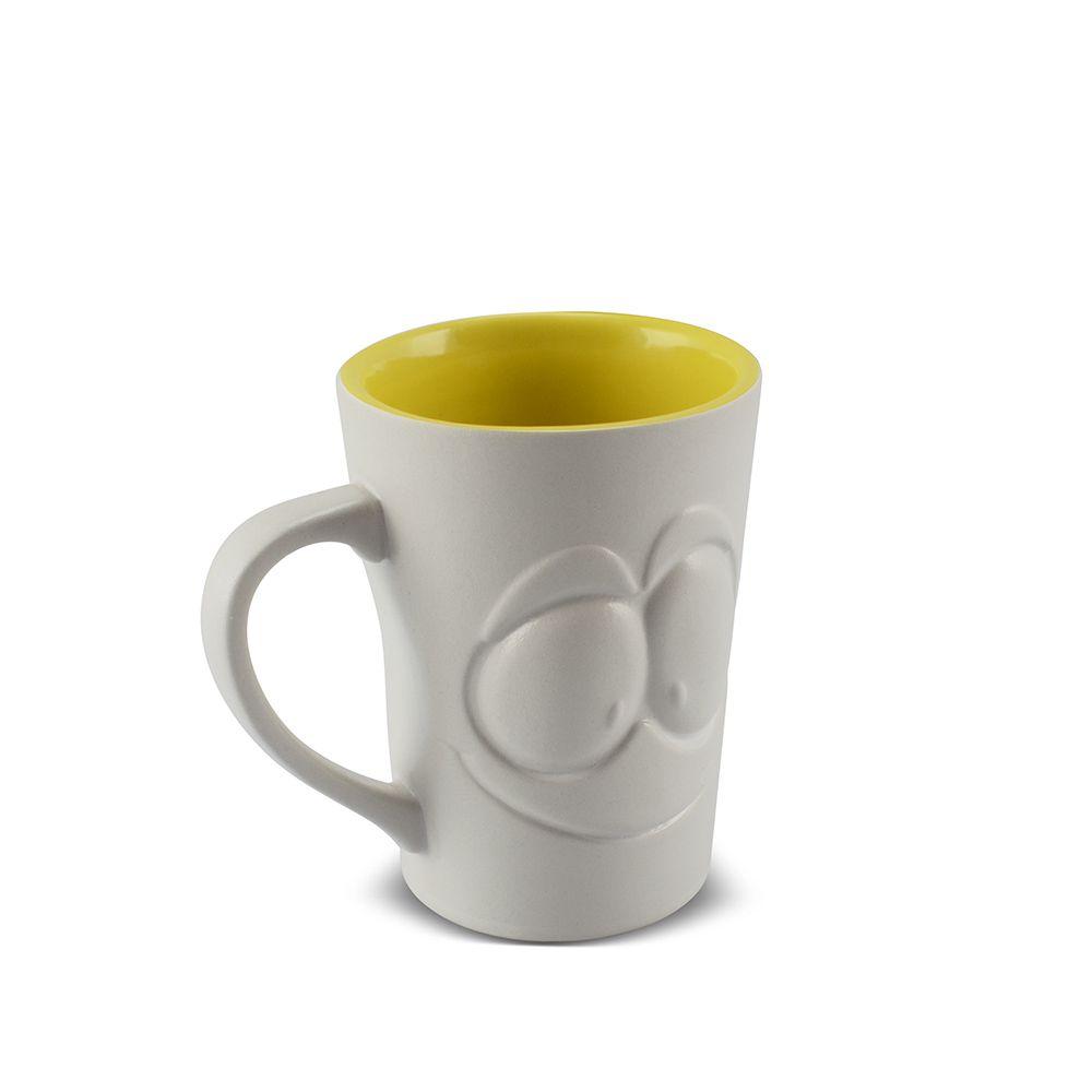 Caneca De Cerâmica 150 Ml Branco Fosco/Amarelo Pirulito ''Zé Rostress