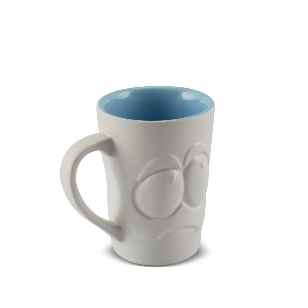 Caneca De Cerâmica 150 Ml Branco Fosco/Azul Bebê ''Tolerância Zé