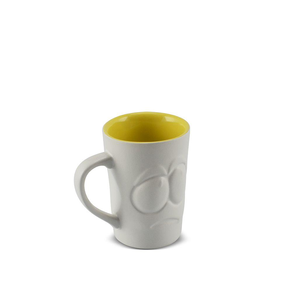 Caneca De Cerâmica 70 Ml Branco Fosco/Amarelo Pirulito ''Tolerância Zé