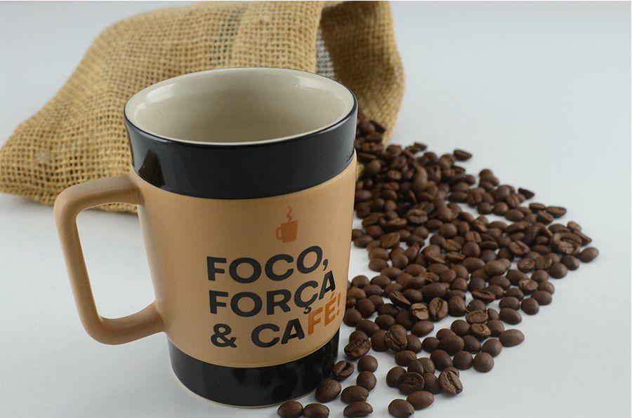 Caneca De Cerâmica Coffee To Go ''Foco'' 300Ml - Pardo Fosco Mondoceram