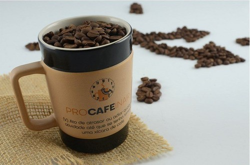 Caneca De Cerâmica Coffee To Go ''Procafeinar'' 300Ml - Pardo Fosco Mondoceram