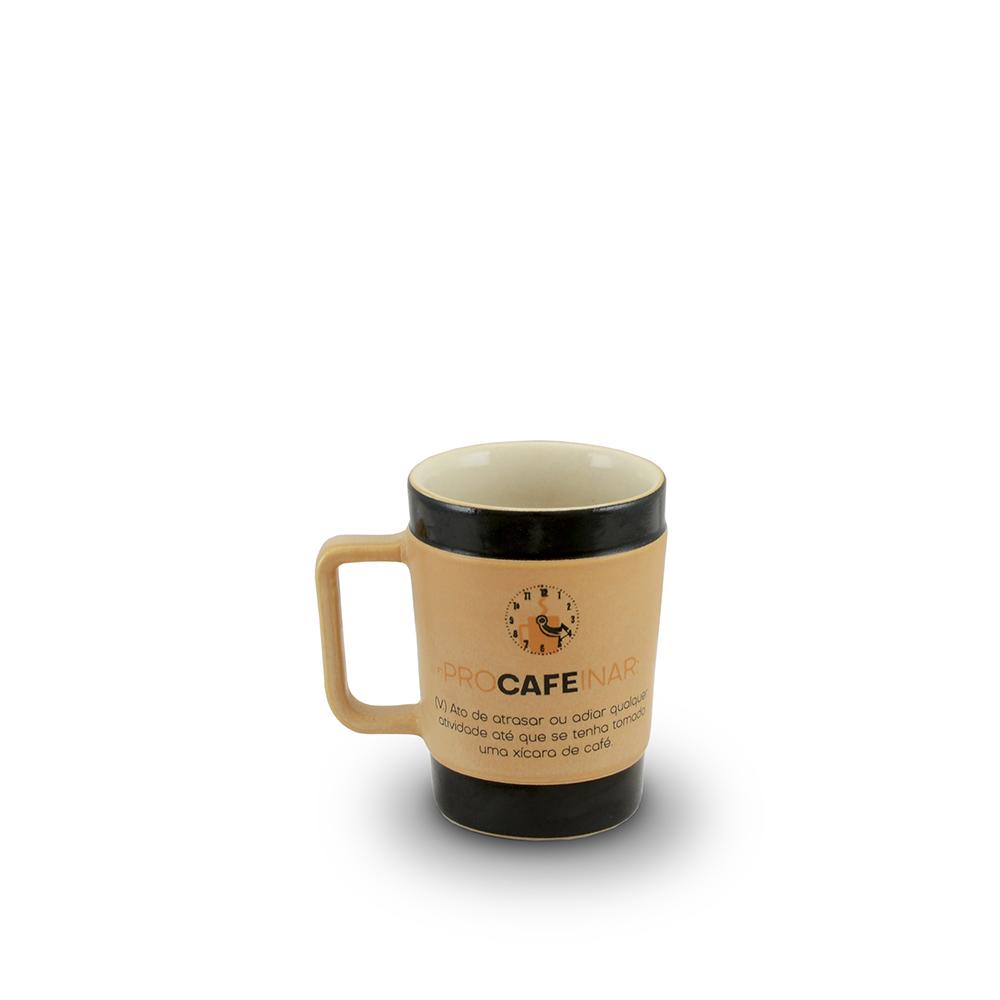 Caneca De Cerâmica Coffee To Go ''Procafeinar'' 70Ml - Pardo Fosco Ceraflame