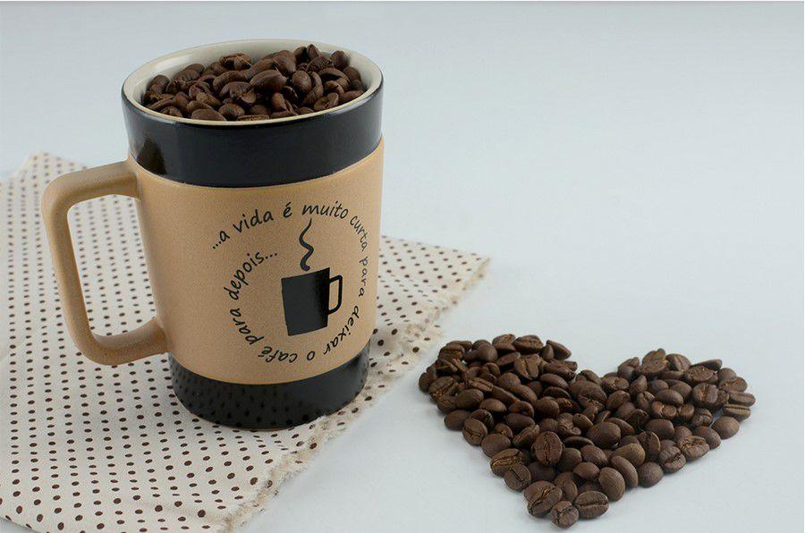 Caneca De Cerâmica Coffee To Go ''Vida Curta'' 70Ml - Pardo Fosco Mondoceram