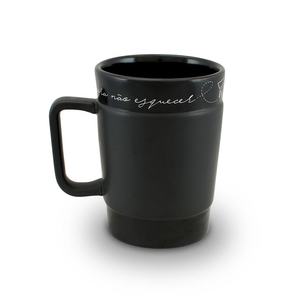 Caneca De Cerâmica Mondoceram Coffee To Go 300Ml - Preto Fosco (Giz)