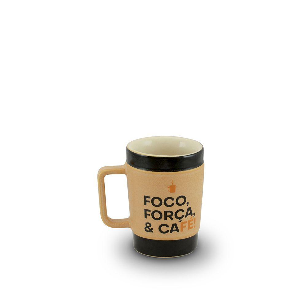 Caneca De Cerâmica Coffee To Go ''Foco'' 70Ml - Pardo Fosco Mondoceram