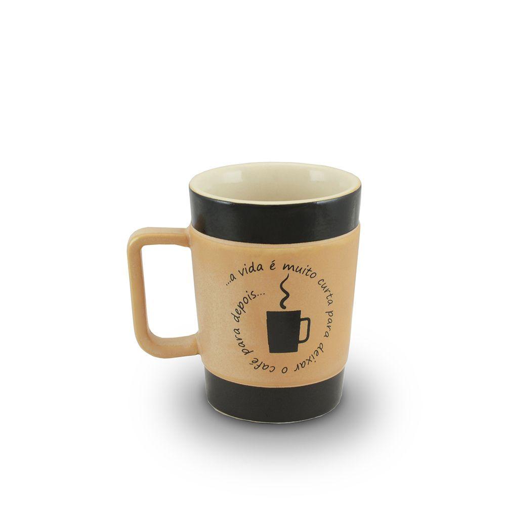 Caneca De Cerâmica Mondoceram Coffee To Go Vida Curta 150Ml - Pardo Fosco