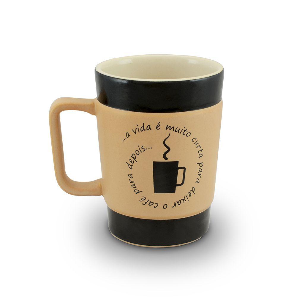 Caneca De Cerâmica Coffee To Go ''Vida Curta'' 300Ml - Pardo Fosco Mondoceram