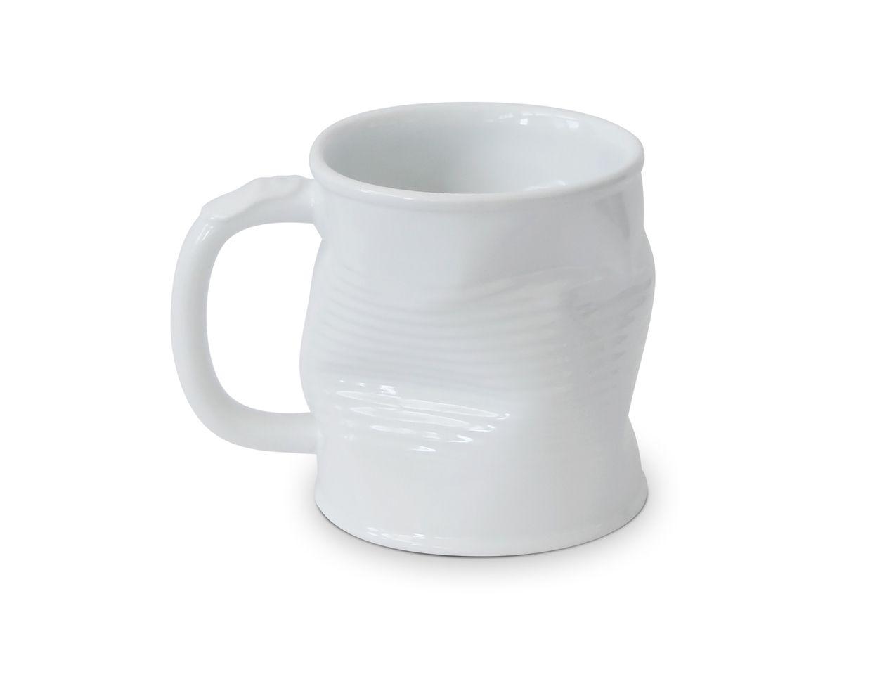 Caneca De Cerâmica Lata Amassada 320Ml - Branco Mondoceram