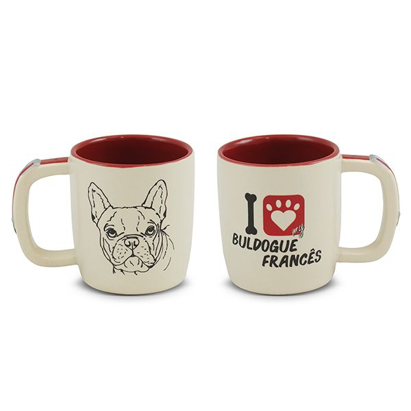 CANECA MONDOCERAM PET  BULDOGUE FRANCÊS 350ML