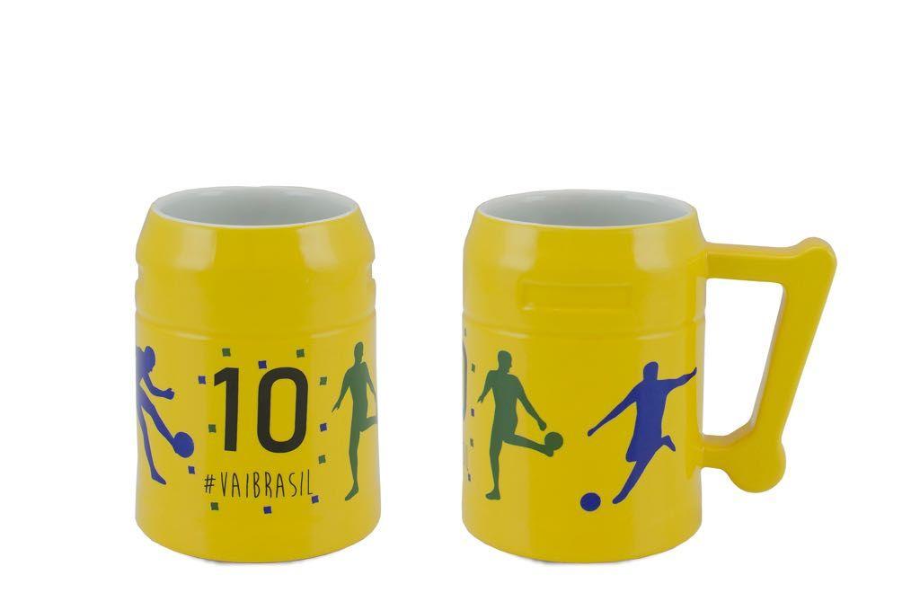 """Caneco Steel Amarelo """"Copa"""" 500Ml"""