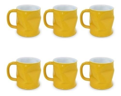 Conjunto 06 Canecas Lata Amassada 220Ml Ceraflame - Amarelo