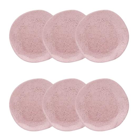 Conjunto 6 Pratos Fundos 22,5Cm Ryo Pink Sand - Oxford Porcelanas