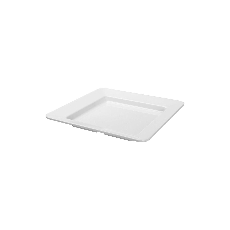 Conjunto 6 Pratos Quadrados Coquetel Em Melamina 15,9X15,9Cm - Branco Marfim - Oxford