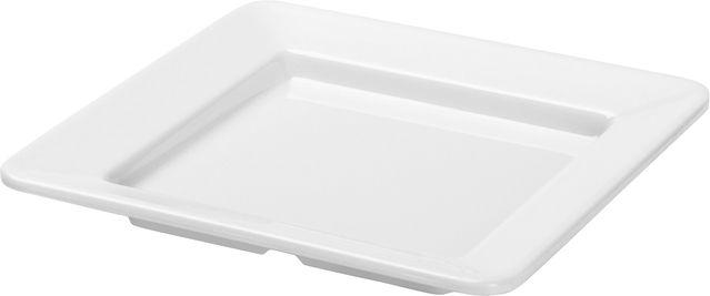 Conjunto 6 Pratos Quadrados Em Melamina 36X36Cm - Branco Marfim - Oxford