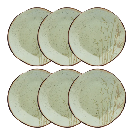 Conjunto 6 Pratos Rasos 27,5Cm Ryo Bambu - Oxford Porcelanas