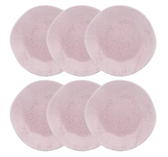 Conjunto 6 Pratos Rasos 27,5Cm Ryo Pink Sand - Oxford Porcelanas