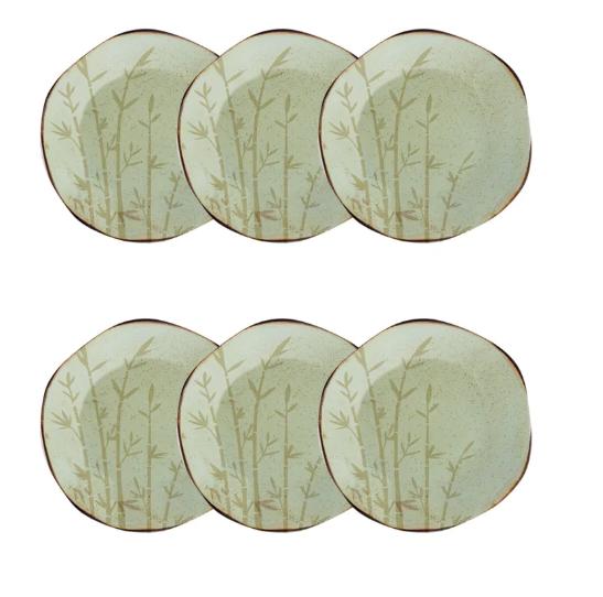 Conjunto 6 Pratos Sobremesa 21,5Cm Ryo Bambu - Oxford Porcelanas
