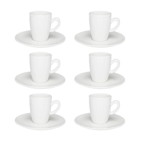 Conjunto 6 Xícaras Com Pires De Café Expresso - White - Oxford Porcelanas