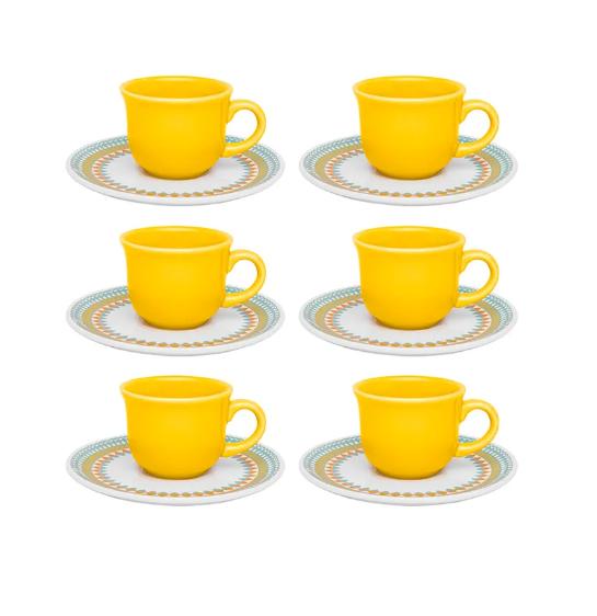 Conjunto 6 Xícaras De Cafezinho Com Pires - Bilro- Oxford Daily